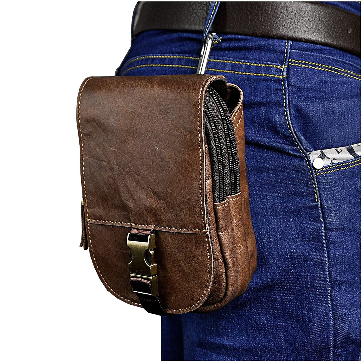 Le'aokuu Mens Genuine Leather Hook Fanny Waist Pack Small Messenger Bag Phone Case Pouch (The Black) 8301