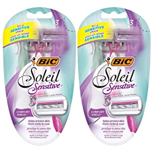 BIC Soleil Glow Women's 3-Blade Disposable Razor, 3 Count - Pack of 2 (6 Razors)