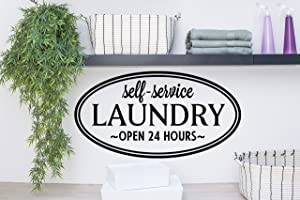 Story of Home LLC Self-Service Laundry Open 24 Hours Laundry Room Decal Laundry Vinyl Wall Decal