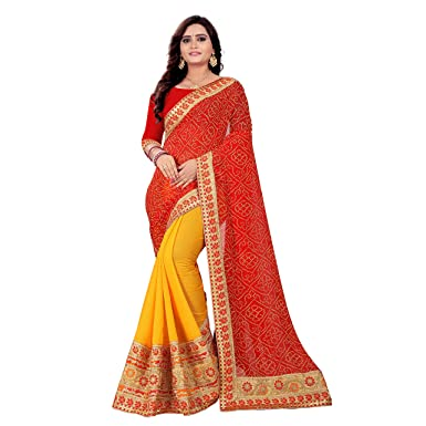 48046c6cc1 Stylepusher Women's Silk Bandhani Saree with Unstitched Blouse Piece  (SS-SP-3099,