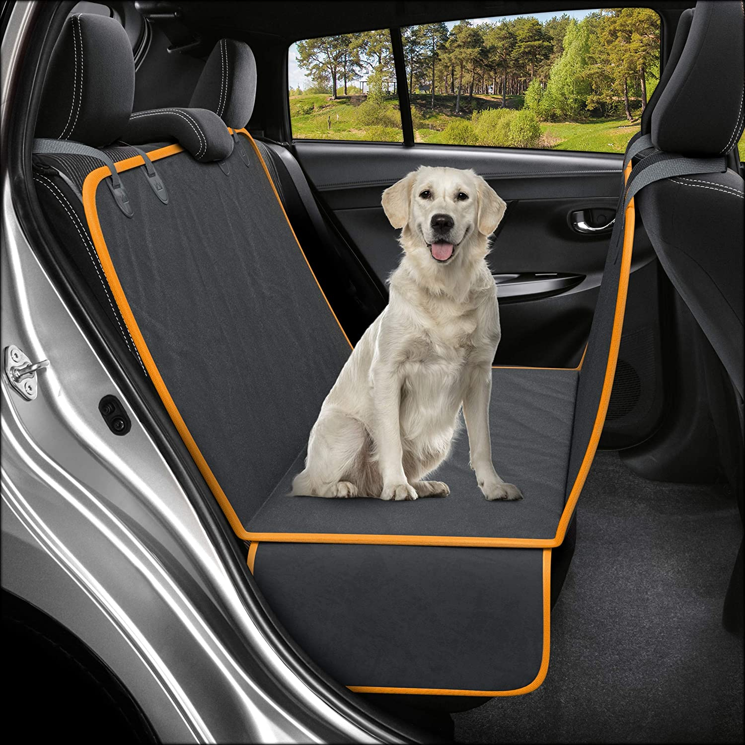 Active Pets Dog Back Seat Cover Protector Waterproof Scratchproof Hammock for Dogs Backseat Protection Against Dirt and Pet Fur Durable Pets Seat Covers for Cars & SUVs 91EwzxSyKzL