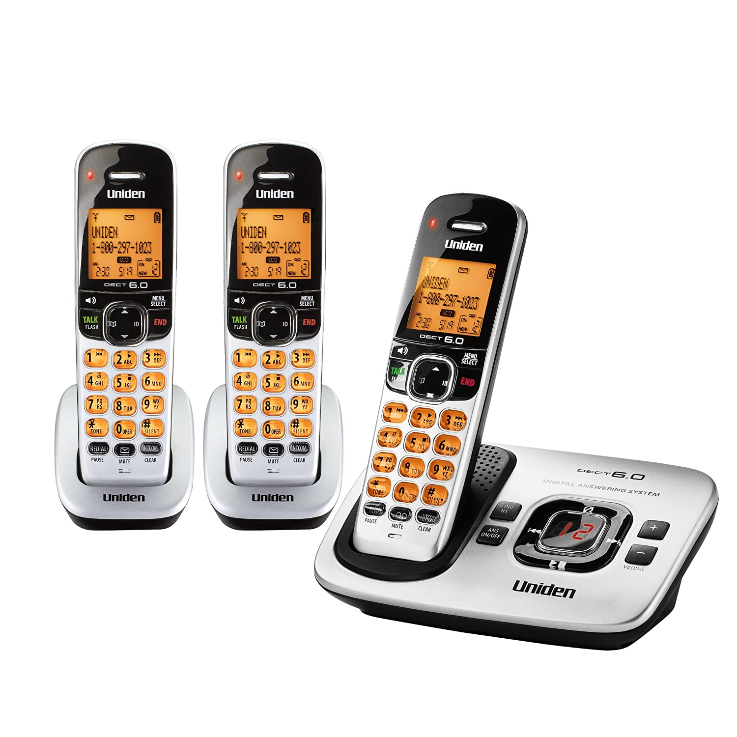 Amazon.com : Uniden DECT 6.0 Expandable Corded/Cordless Phone with  Answering System - Silver, 2 Handsets and 1 Base (D1788-2) : Corded  Cordless Combination ...