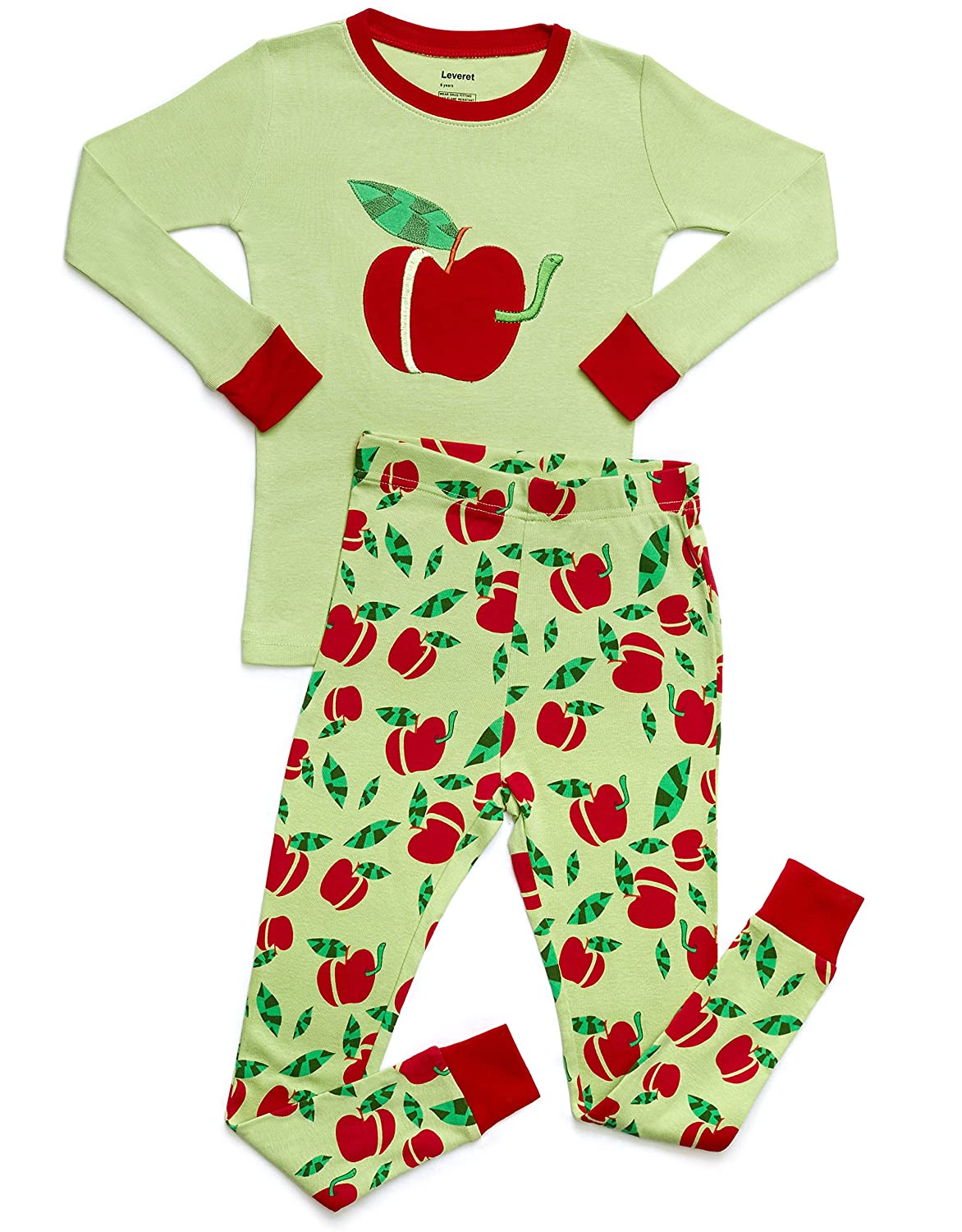 Leveret Kids & Toddler Pajamas Boys Girls 2 Piece Pjs Set 100% Organic Cotton Sleepwear (12 Months-14 Years)