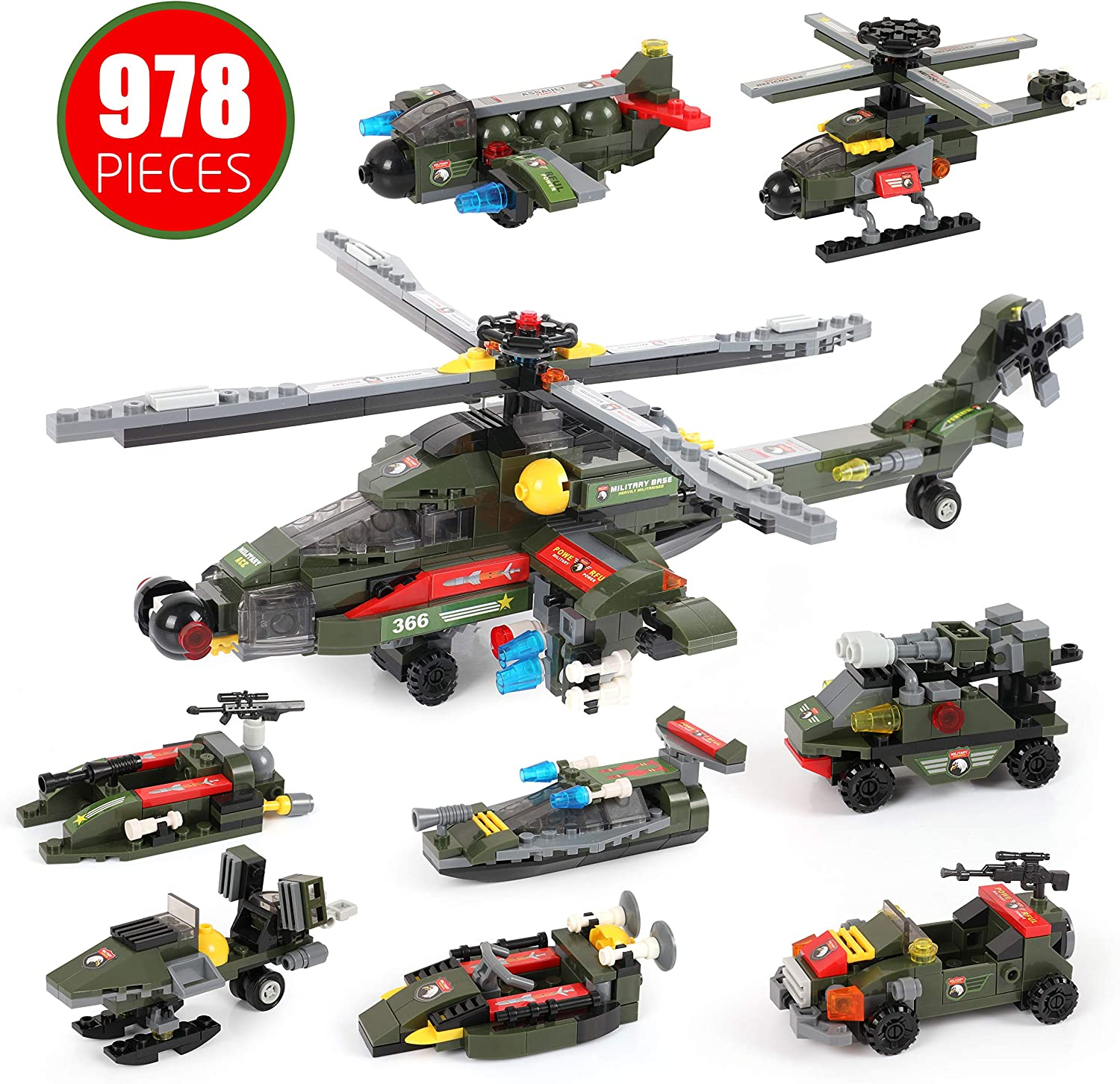 Exercise N Play Creative Buliding Bricks with Helicopter Car Truck Combat Models for Boys Girls 6-12 Years Building Blocks Gunship War Sets Toy