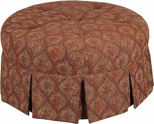 Leffler Home Tomato Ava Round Pleated Upholstered Ottoman