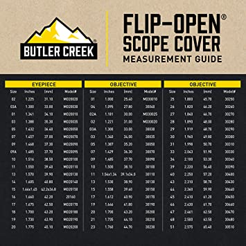 Butler Creek Flip-Open Scope Cover Eyepiece Size 13 Polymer Black MO20130