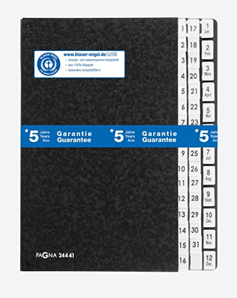 44 F/ächer PAGNA Pultordner DIN A4 1-31 und 1-12//Jan.-Dez.