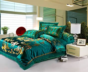 HNNSI 4pcs Wedding Bedding Sets Full Size, Chinese Dragon and Phoenix Satin  Lace Duvet Cover Set with Cotton Flat Sheet, Quit/Comforter Cover Sets, ...