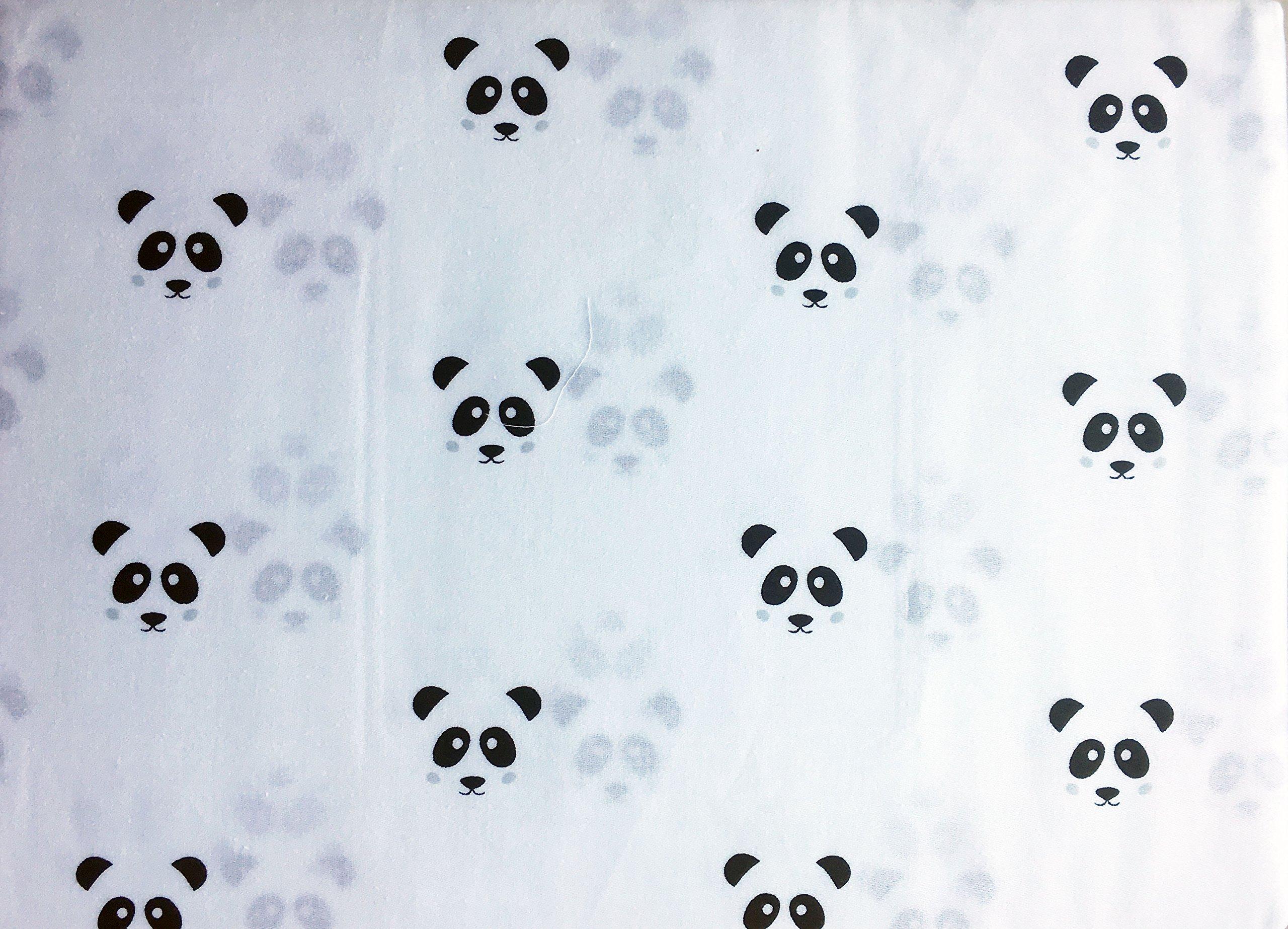 Little Dreamers Bedding 4 Piece Cotton Full Sheet Set Double Bed Black Panda Bear Faces on White