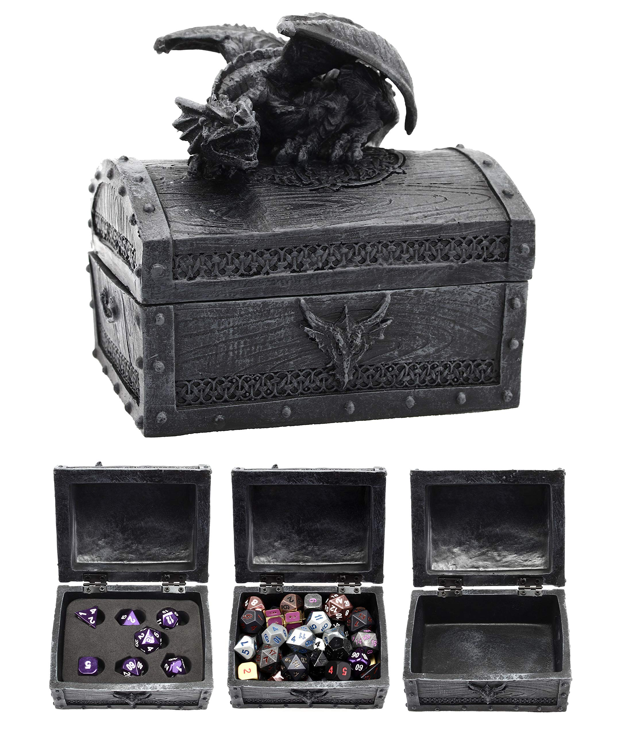Forged Dice Co. Deluxe Dragon Dice Storage Box with Custom Dice Foam Insert - Container Holds up to 6 Sets of Polyhedral Dice or 42 Individual Dice by Forged Dice Co.