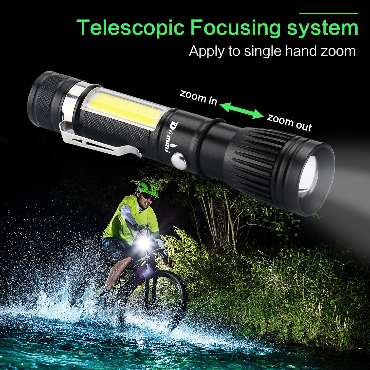 Domini LED Tactical Flashlight - USB Rechargeable Zoomable Flashlight XM-L T6 + COB Torch for Camp Emergency Reading Car Checking and Work with USB charging (18650 battery including) by Domini (Image #4)