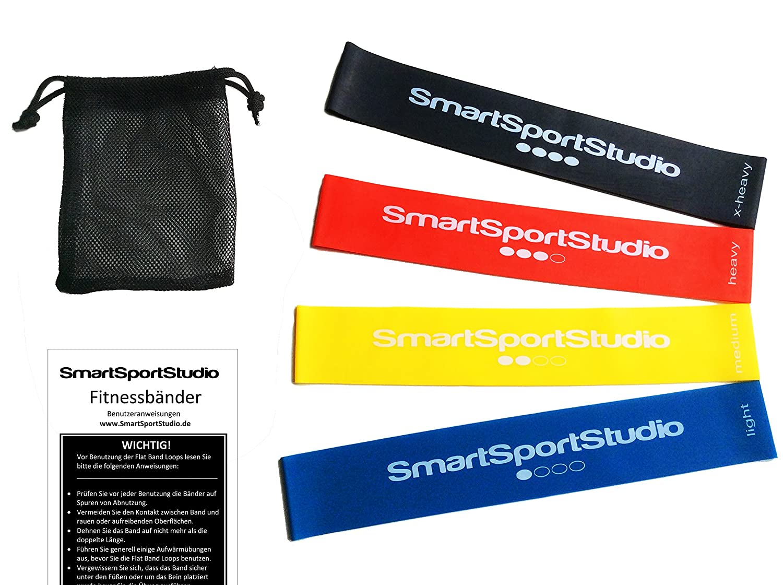 SmartSportStudio ☆ 4er Set Premium Therabänder / Fitnessbänder ...