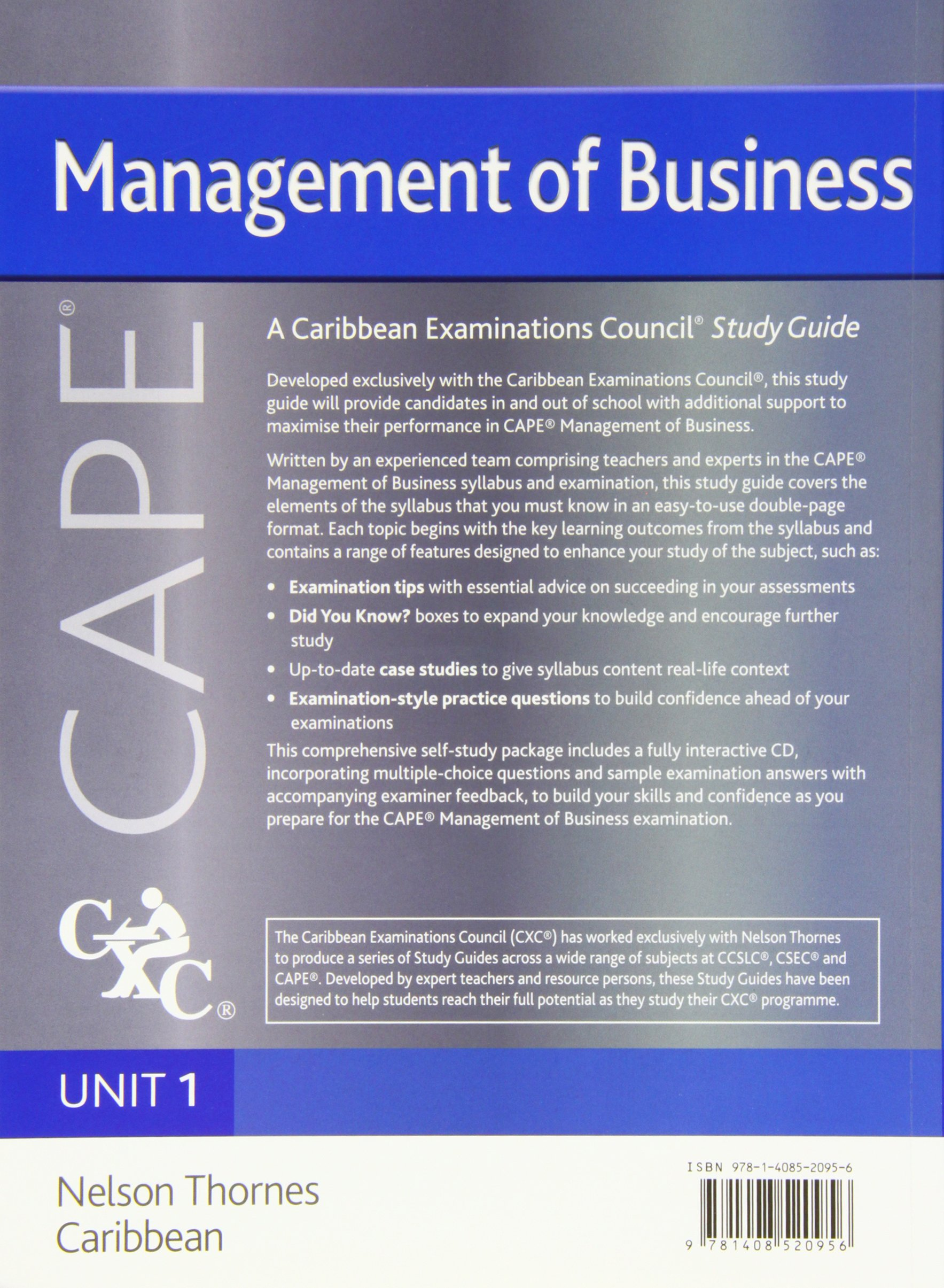 Management of Business CAPE Unit 1 CXC Study Guide: A Caribbean  Examinations Council: Robert Dransfield, Caribbean Examinations Council,  Margaret Scott ...