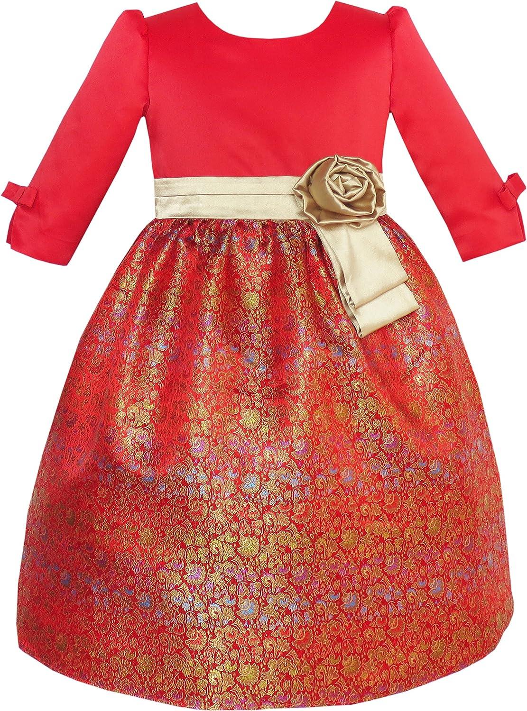 Sunny Fashion Girls Dress Fit & Flare Glitter Jacquard Christmas Holiday