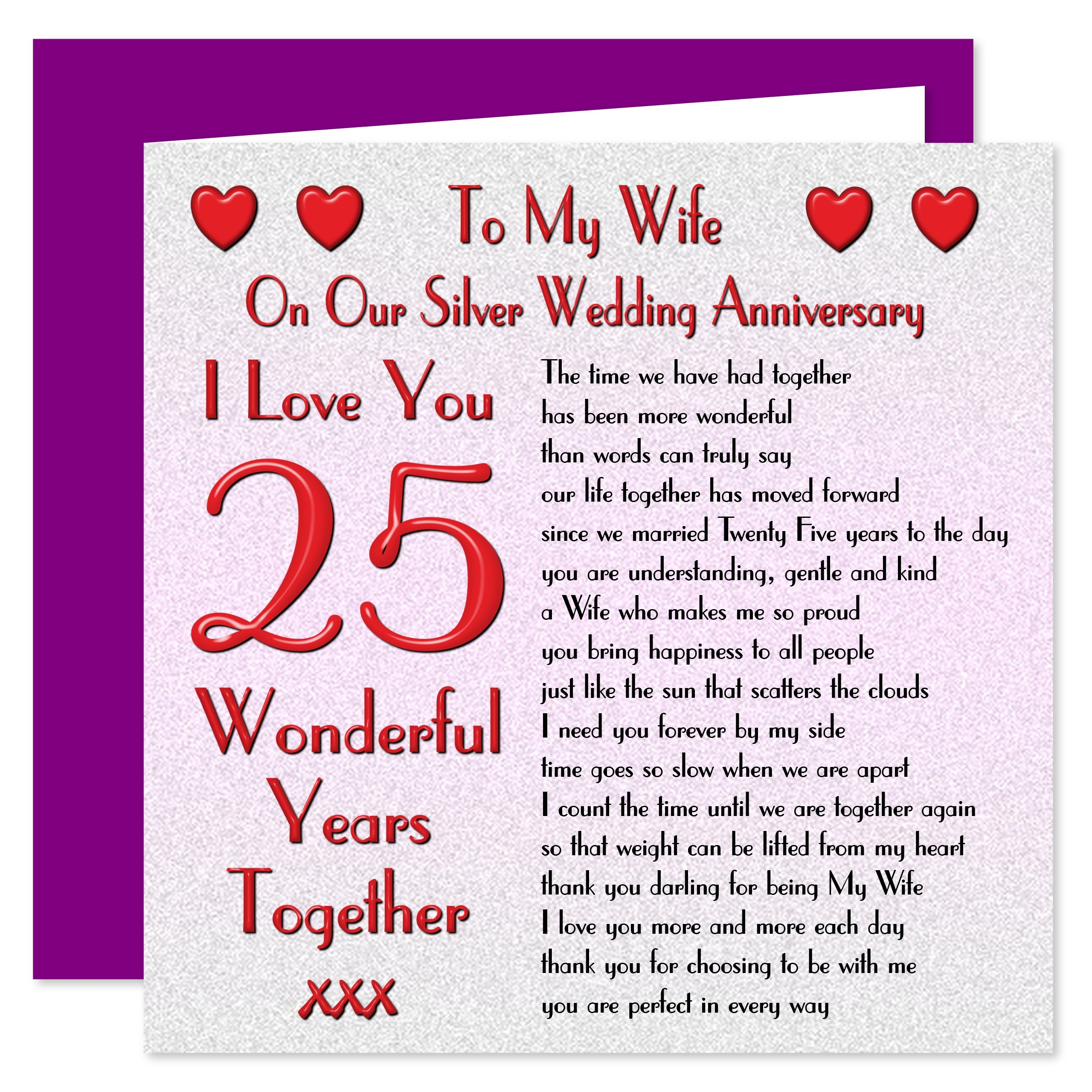 My Wife 25th Wedding Anniversary Card - On Our Silver Anniversary - 25 Years - Sentimental Verse I Love You