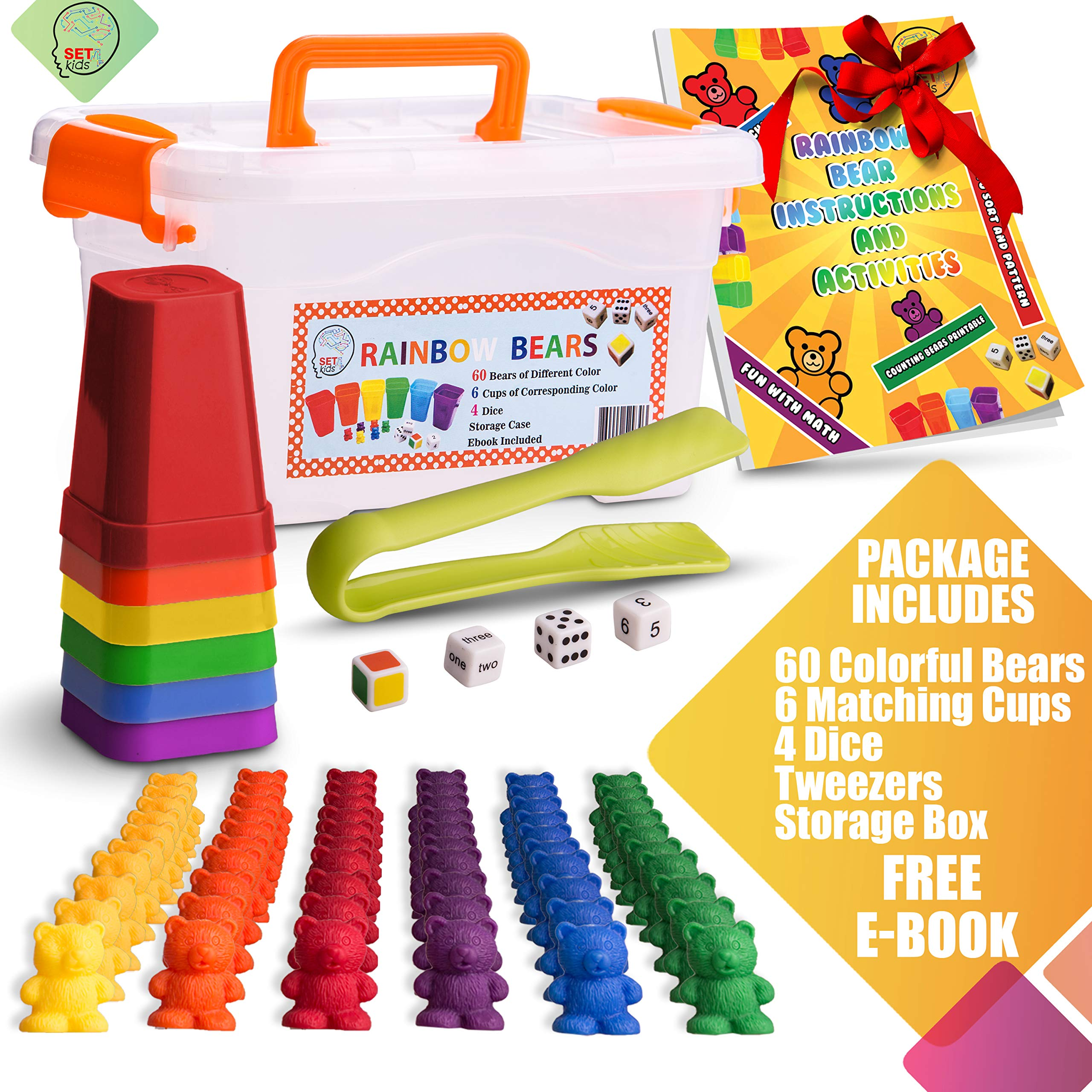 SET4kids Counting Bears with Matching/Sorting Cups, 4 Dice , Tweezers and an Activity e-Book. for Toddler Games | Early Childhood Education. 71 pc Game Set by SET4kids