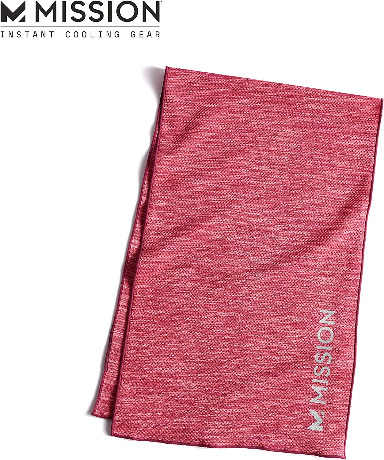 "MISSION Lite-Knit Cooling Towel Instant Evaporative Cooling, Lightweight Knit Fabric, Cools Instantly When Wet, UPF 50 Sun Protection, Yoga, Golf, Gym, Neck, 10"" x 33"""