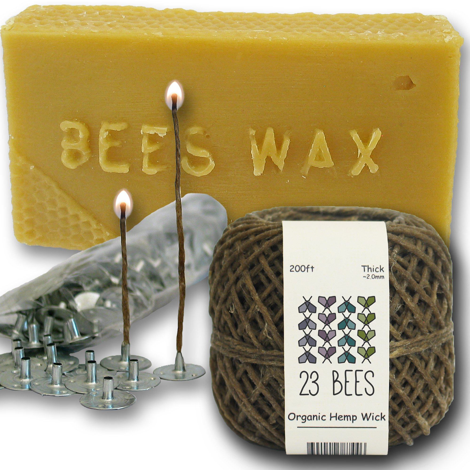 Organic Candle Making Bundle Kit | Organic Hemp Candle Wick + Natural Beeswax + Wick Sustainer Tabs | 23 Bees (200ft(Thick) x 200pc x 2lbs) by 23 Bees