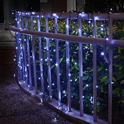 Solar Curtain Lights for Bedroom Parties Wedding, 6.6ft x 6.6ft, 8 Mode, 200 LED Wall Window Backdrop Decor String Lights for Party Home Garden Gazebo BBQ RV Birthday Decorations, Dark Green (White) : Garden & Outdoor