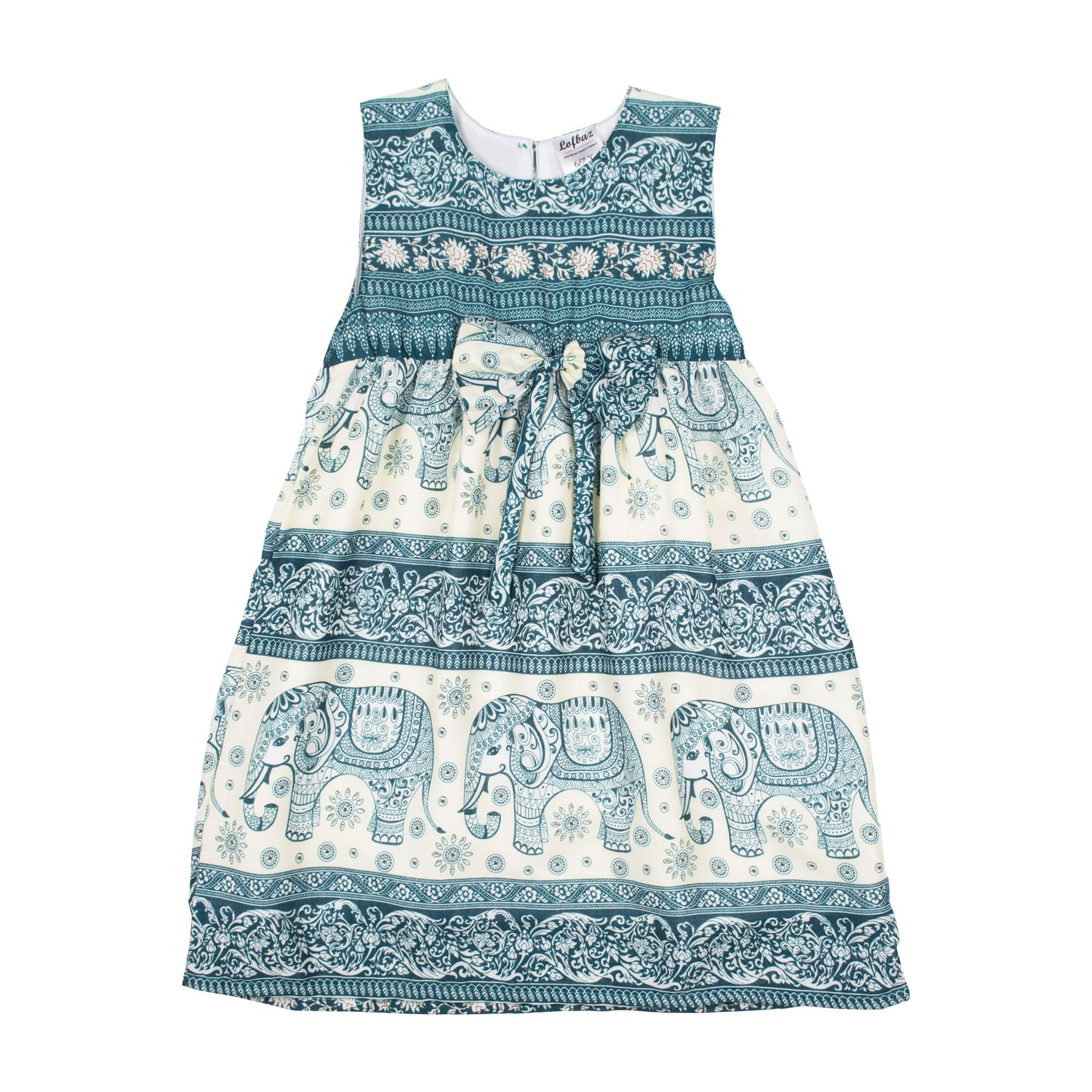 Lofbaz Girls Printed Rayon Sleeveless Tea Dresses Peacock 1 Teal Green 5/6Y