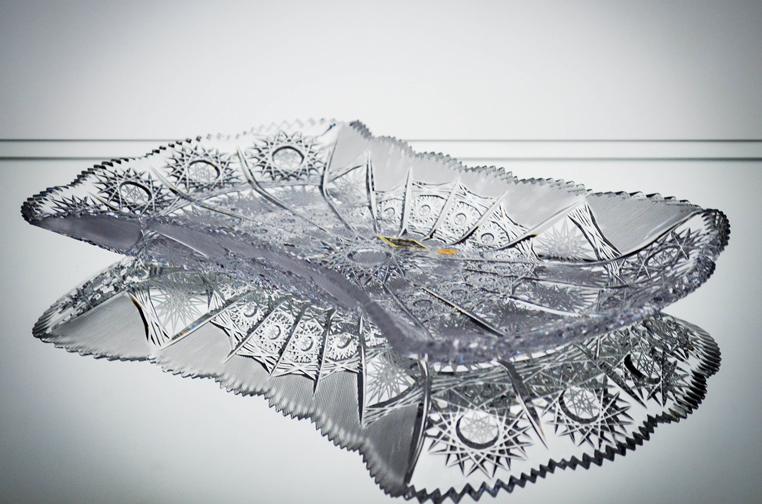 BOHEMIA CRYSTAL GLASS PLATE BOWL PLATTER 13''-L DECORATIVE WEDDING GIFT HAND CUT VINTAGE EUROPEAN DESIGN ELEGANT CENTERPIECE DISH SALADS NUTS CANDIES FRUITS DESSERTS CZECH CRYSTAL GLASS