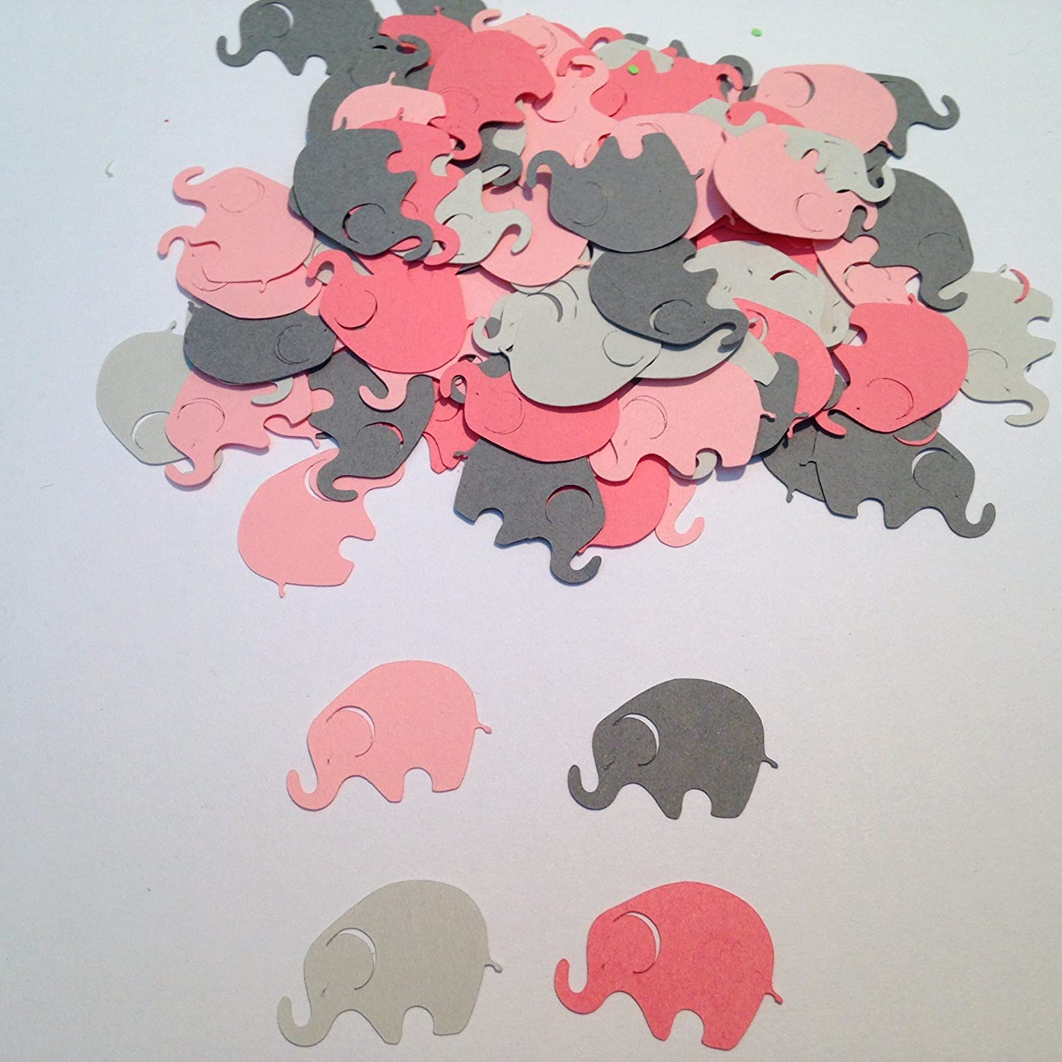 Elephant Baby Shower, Pink Gray Elephant, Elephant Confetti, Elephant Cut Out, Elephant Die Cut, Elephant Theme, Girl Baby Shower, 100 pieces