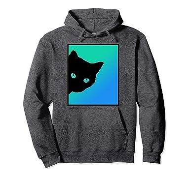 Amazoncom Cute Black Cat Blue Green Eyes Kitten Lover Hoodie