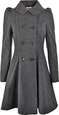 60f3fd58c Womens Double Breasted Long Coat Wool Touch Fit and Flare Ladies Winter Coat  with Inside Lining  Amazon.co.uk  Clothing