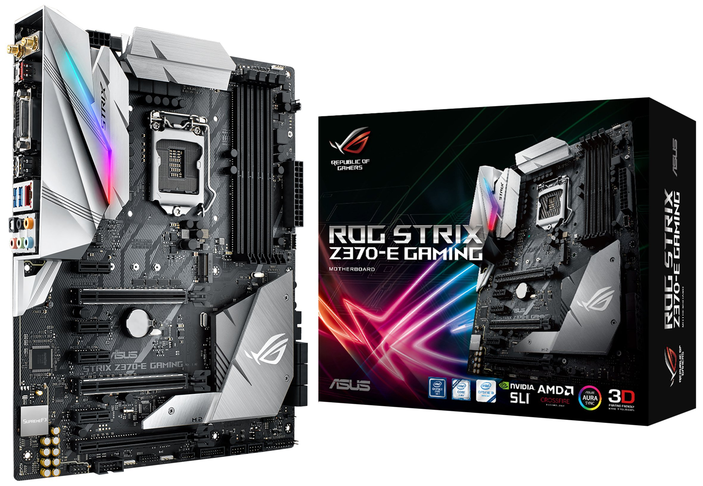 ASUS ROG STRIX Z370-E GAMING LGA1151 DDR4 DP HDMI DVI M.2 Z370 ATX Motherboard with onboard 802.11ac WiFi and USB 3.1 for 8th Generation Intel Core Processors by Asus