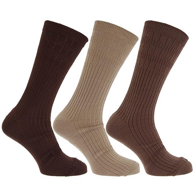 Calcetines térmicos acanalados con lana de cordero sin goma elastica para hombre/caballero - Pack