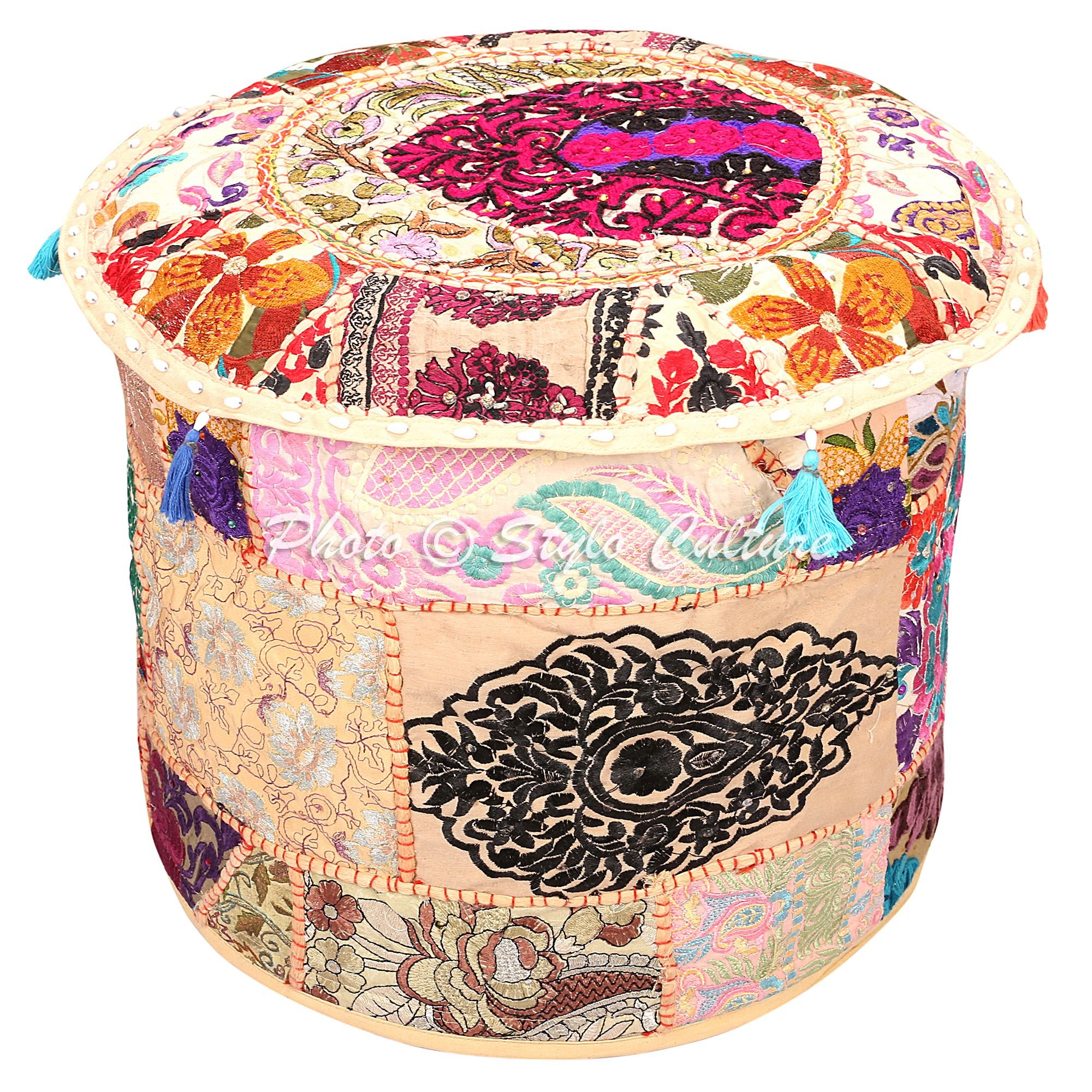 Stylo Culture Decorative Living Room Pouf Cover Round Patchwork Embroidered Pouffe Ottoman Cover Beige Cotton Floral Traditional Furniture Footstool Seat Puff Cover (18x18x13)