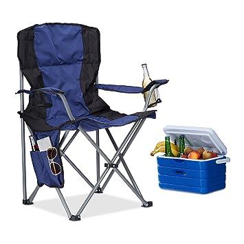 Sedie Da Campeggio Pieghevoli.Relaxdays Sedia Da Campeggio Pieghevole Con Porta Bevande