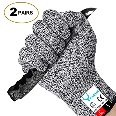 YINENN Cut Resistant Gloves with High Performance Level 5 Hand Protection,Food Grade Safety Gloves for Oyster Shucking,Fish Fillet Processing,Mandolin Slicing,Meat Cutting,Wood Carving-2 Pairs(Medium)