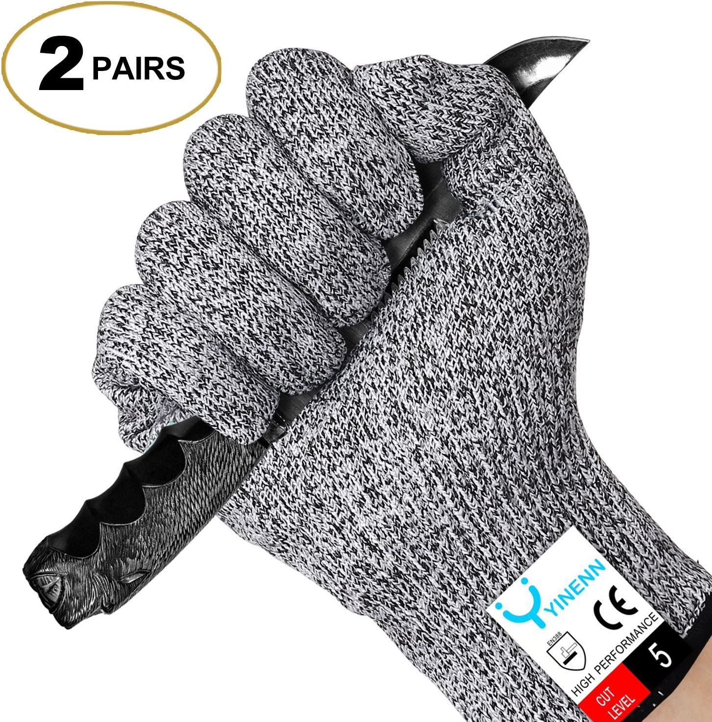 YINENN 2 Pairs (4 Gloves) Cut Resistant Gloves Food Grade Level 5 Hand Protection,Kitchen Cut Gloves for Oyster Shucking,Fish Fillet Processing,Mandolin Slicing,Meat Cutting,Wood Carving-(Medium)