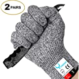 YINENN Cut Resistant Gloves with Level 5 Hand Protection,Food Grade Safety Cutting Gloves for Oyster Shucking,Fish Fillet Processing,Mandolin Slicing,Meat Cutting,Wood Carving,Knife-2 Pairs(Large)