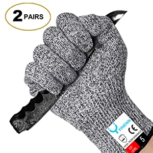 YINENN 2 Pairs Cut Resistant Gloves Food Grade Level 5 Hand Protection,Kitchen Cut Gloves for Oyster Shucking,Fish Fillet Processing,Mandolin Slicing,Meat Cutting,Wood Carving-(Large)