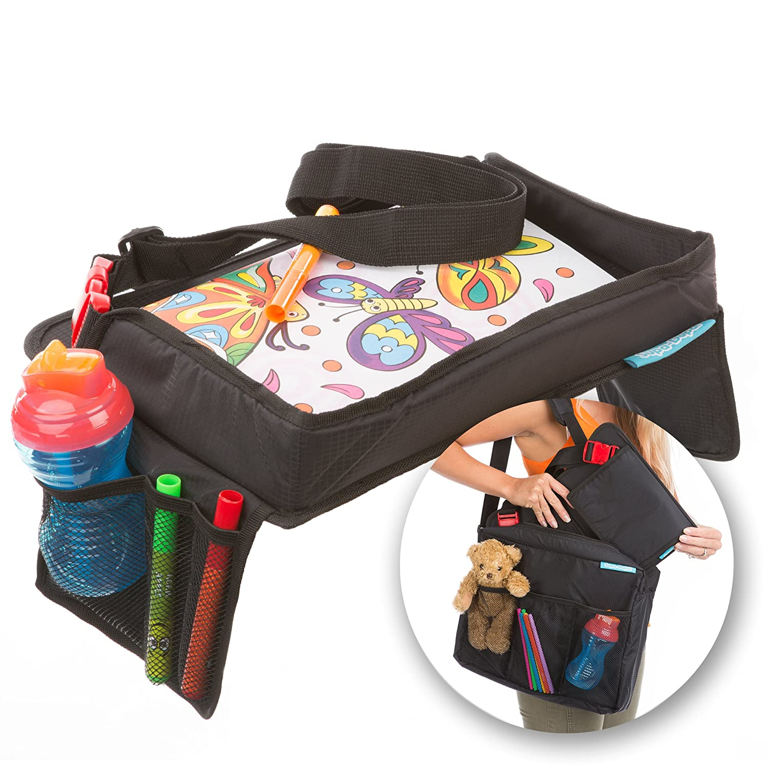 Children's Snack N Play Car Seat Travel Tray & Carry Bag Set by Supa-Dupa! Kids Travel Play Tray Suitable for most kids & toddler carseats + (BONUS Carry Bag) SD-1