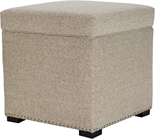 product image for MJL Furniture Designs Tami Square Fabric Upholstered Storage Ottoman, Camel
