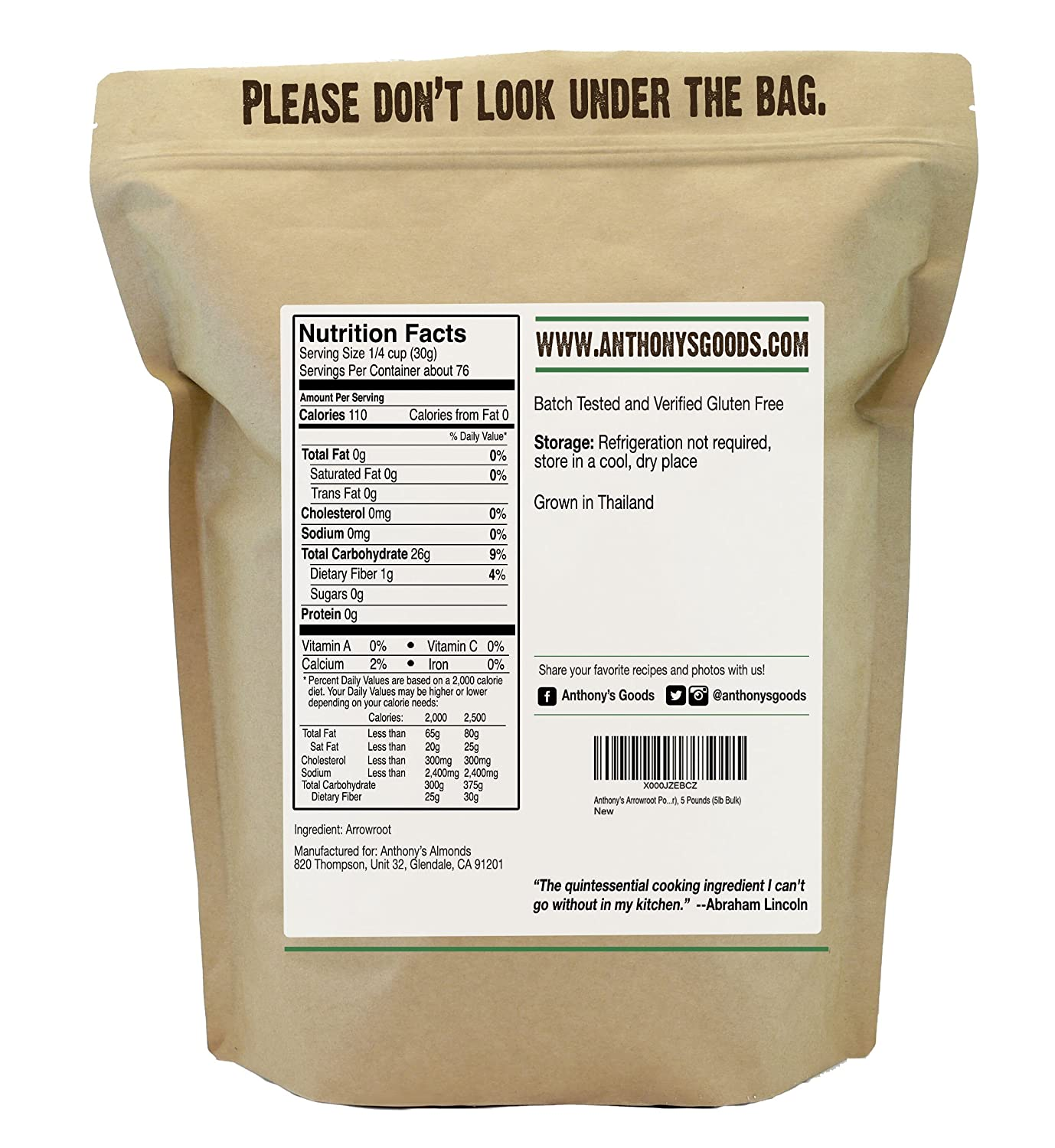 Amazon com arrowroot flour 2 5 pounds by anthonys batch tested gluten free grocery gourmet food