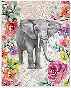 Elephant Decor, Elephant Upcycled Like Vintage Dictionary 11x14 Art Print, Elephant Picture on Newspaper, Elephant Art, Elephant Watercolor, Fine Art Print, Watercolor, Elephant Wall, Elephant Art