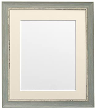 frames by post 16 x 12 inch nordic distressed picture photo frame with ivory mount