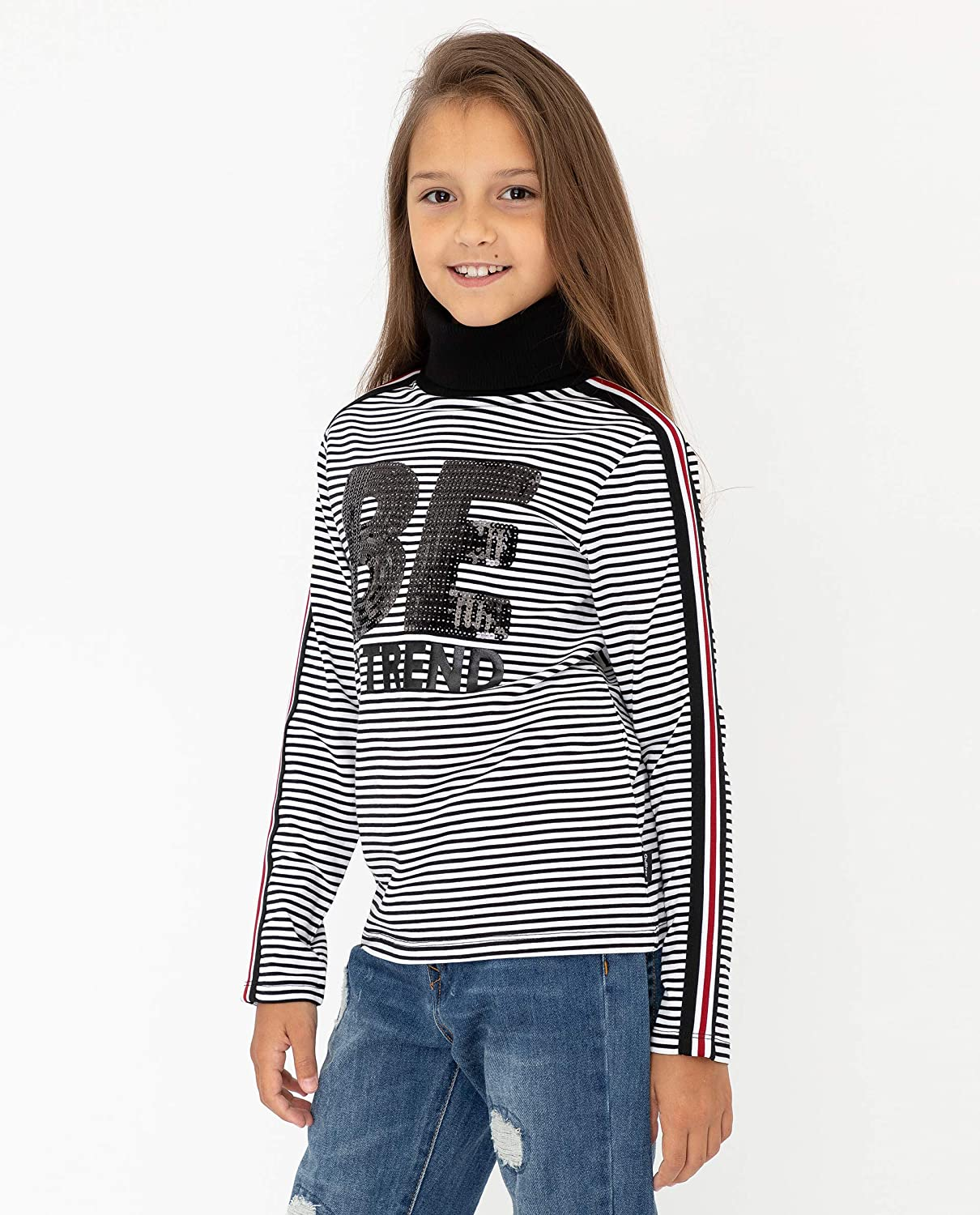 Colour White Black Round Polo-Neck Casual Cotton Soft GULLIVER Teen Girl Long Sleeve Top Turtleneck Shirt T-Shirt Stripe Print Sequins Side Stripes| Regular Fit for 11-14 Years