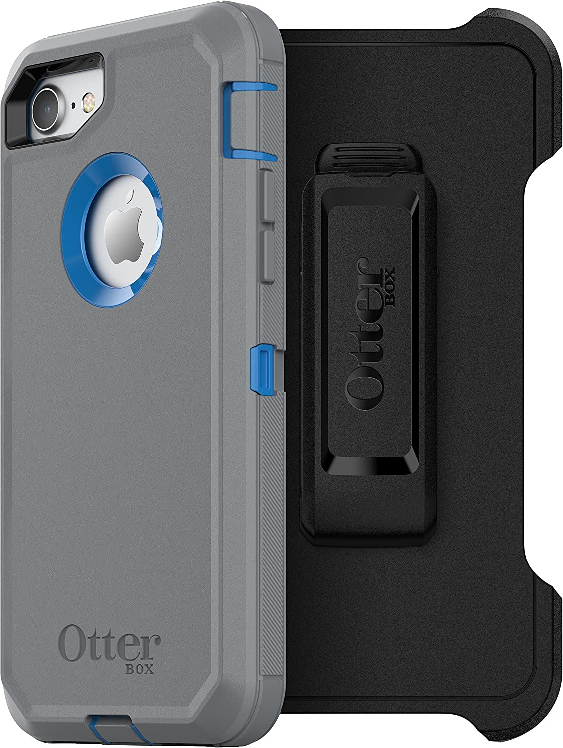 OtterBox DEFENDER SERIES Case for iPhone SE (2nd gen - 2020) and iPhone 8/7 (NOT PLUS) - Retail Packaging - MARATHONER (COWABUNGA BLUE/GUNMETAL GREY), Single, Model Number: 77-55148