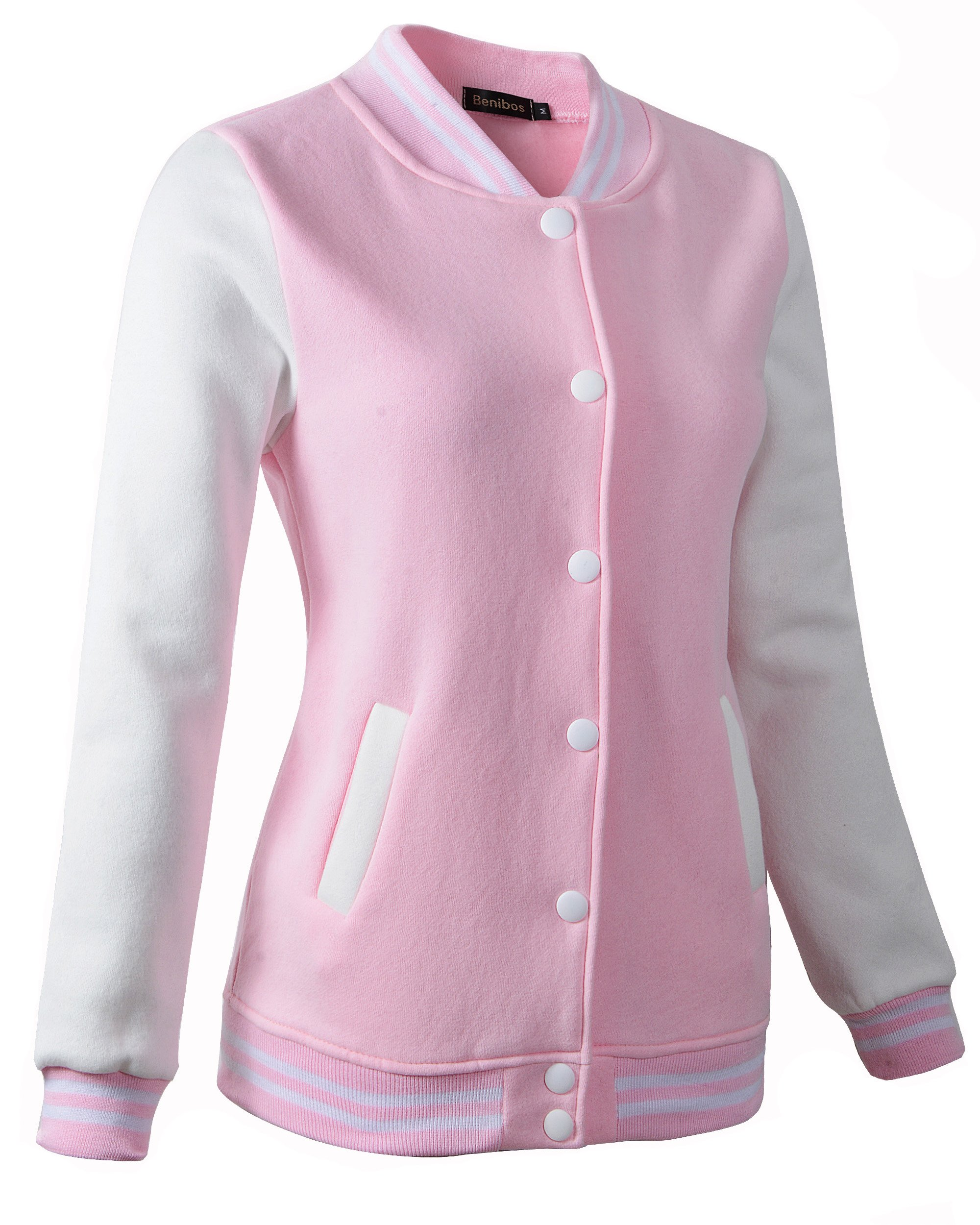 Benibos Women Varsity Jacket Casual Loose Hoodie (US:S/Tag L, 6808Pink) by Benibos