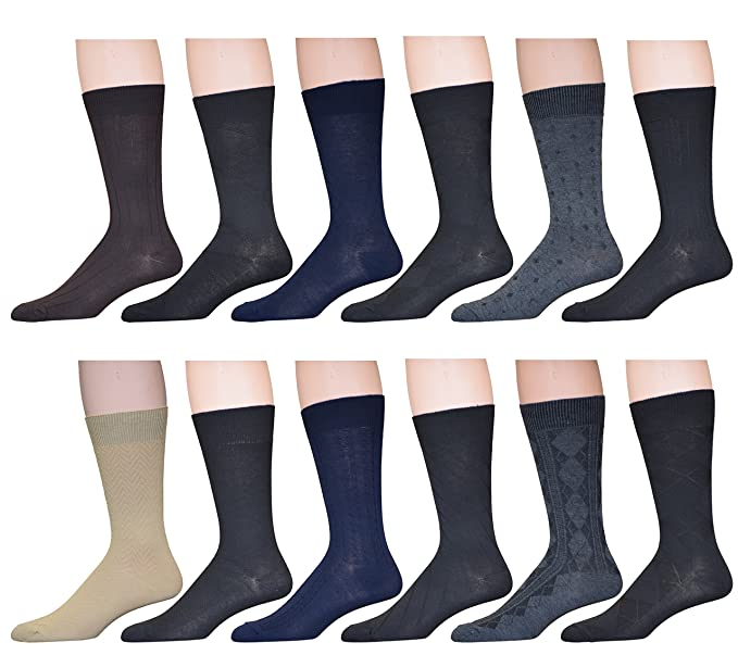 3369ffd466c45 Sock Crew Mens 12 Pack Assorted Textured Patterned Dress Socks, Sock Size  10-13