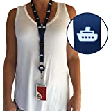 Cruise Lanyard & Card Holder by CRUISE ON - Blue Cruise Ship Design [2 Pack]