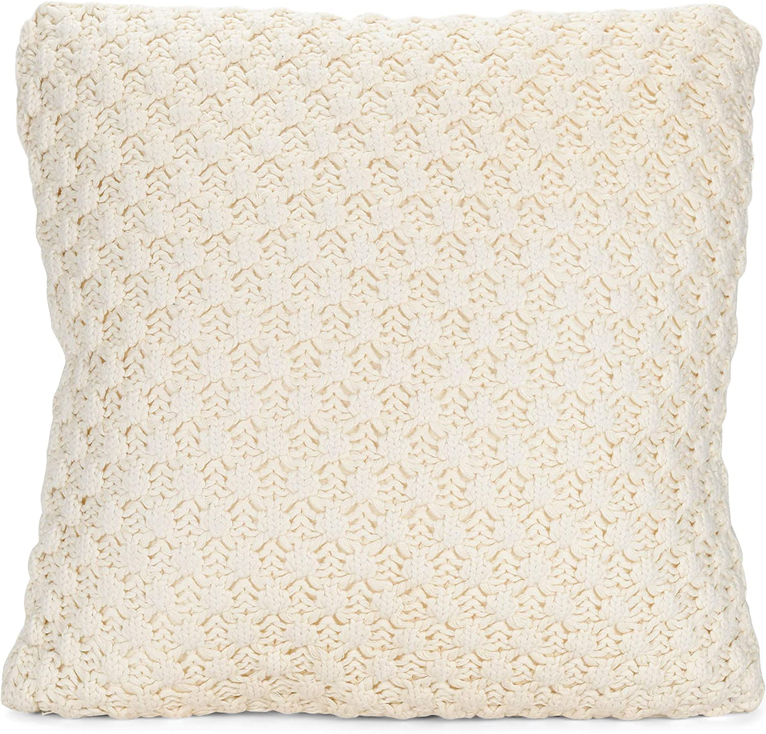 DEMDACO Large Open Weave Soft Cream 16 x 16 Cotton and Polyester Fabric Throw Pillow