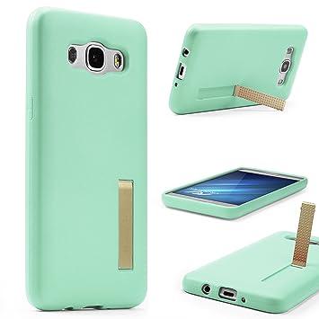 Funda Protectora Galaxy J5 (2016), Carcasa Antichoque con Soporte Plegable Samsung Galaxy J5 (2016) Backcase Suave TPU Ultra Ligera Delgada Anti ...