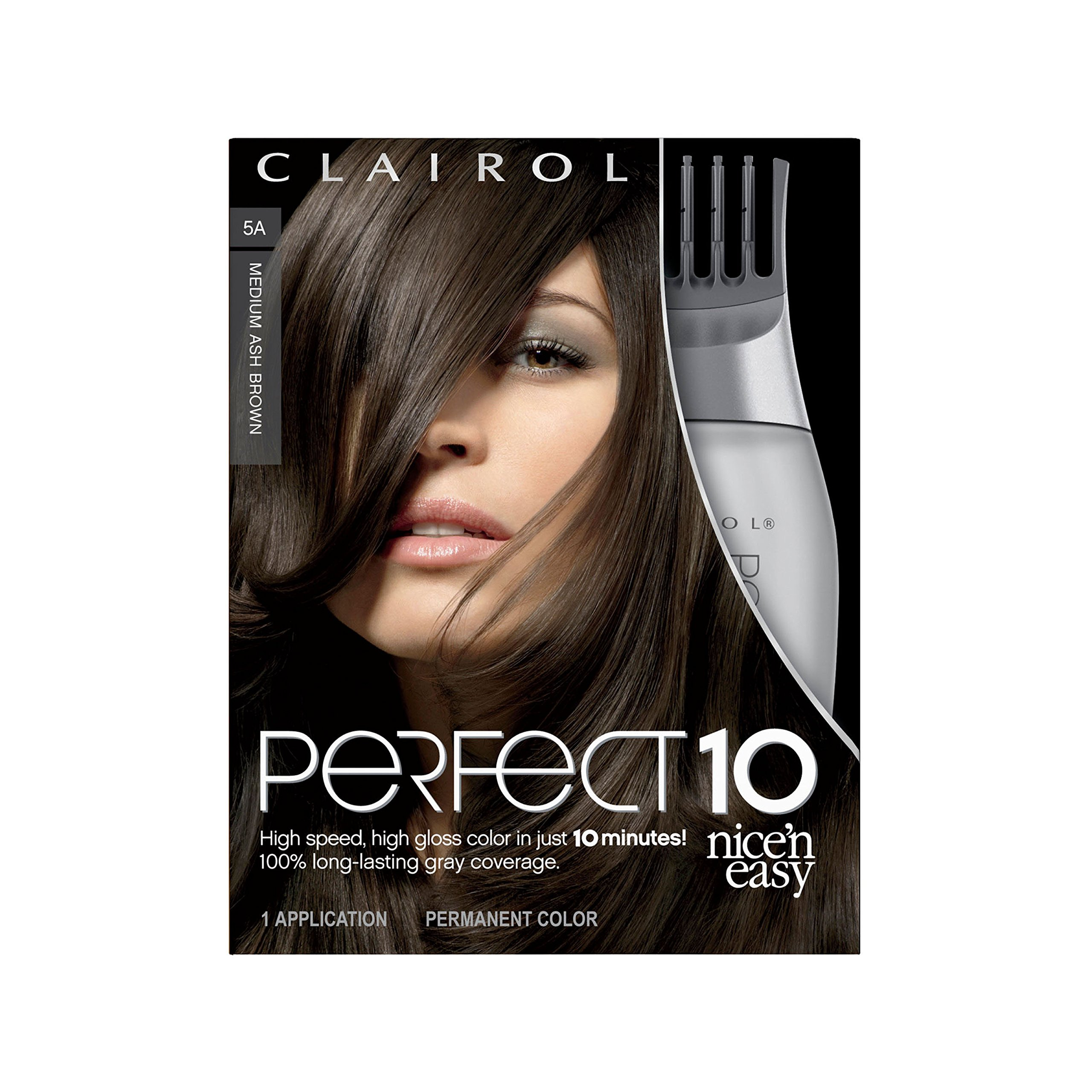 Clairol Perfect 10 By Nice 'N Easy Hair Color Kit (Pack of 2), 005A Medium Ash Brown, Includes Comb Applicator, Lasts Up To 60 Days by Clairol (Image #1)