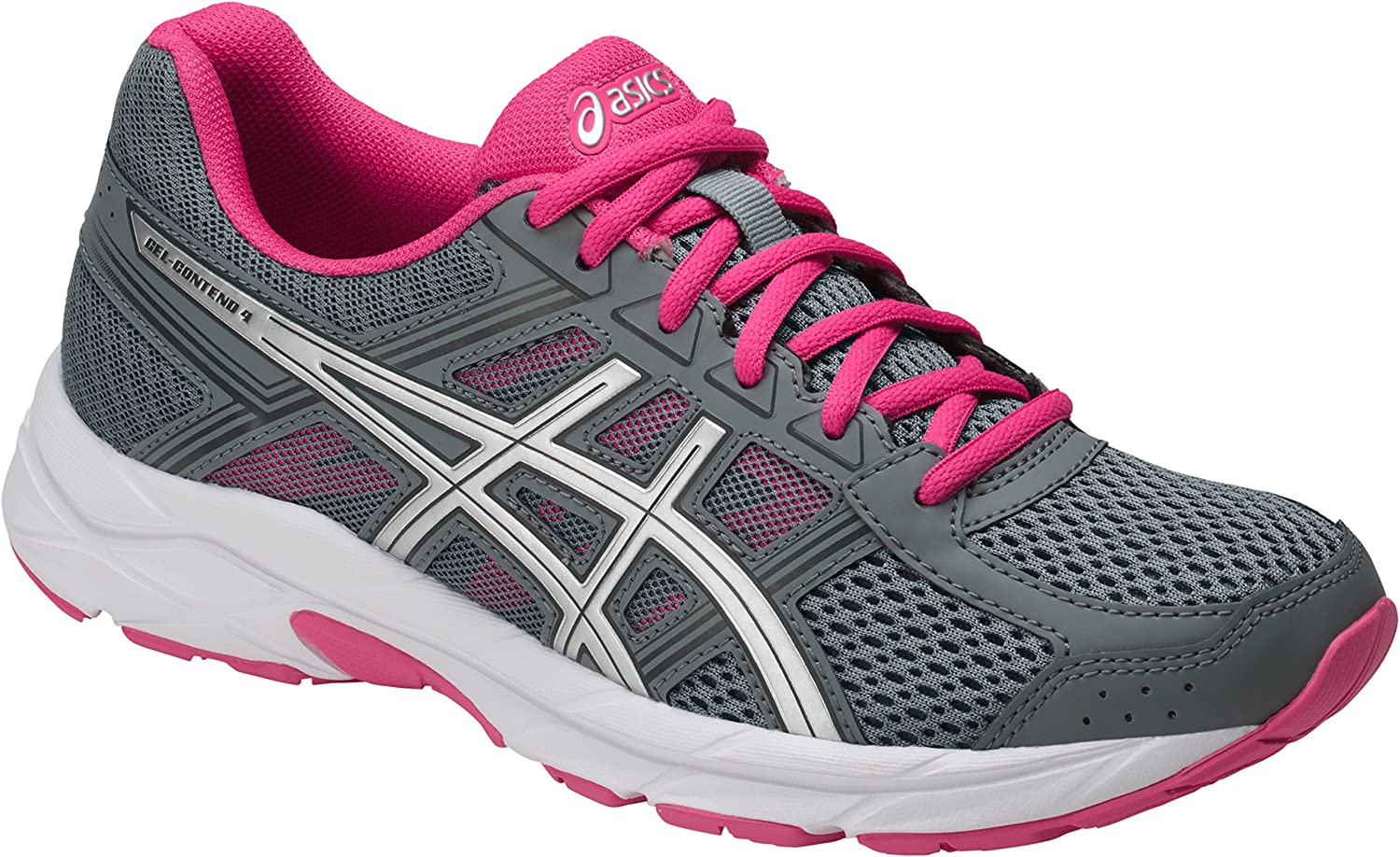 ASICS Womens Gel-Contend 4 Low Top Lace Up Running Sneaker B077XP19TB 6 B(M) US Stone Grey/Silver/Hot Pink Stone Grey/Silver/Hot Pink 6 B(M) US